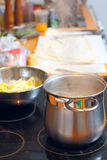 Saucepan with soup Royalty Free Stock Photography