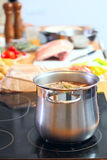 Saucepan with soup Royalty Free Stock Image
