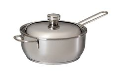 Saucepan from stainless steel Stock Images