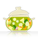 Saucepan with vegetable soup Royalty Free Stock Images