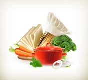 Saucepan with vegetables and cookbook Stock Image