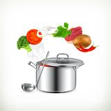 Saucepan with vegetables illustration Stock Image