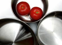 Saucepans isolados imagens de stock royalty free