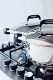 Saucepans stainless steel Royalty Free Stock Images