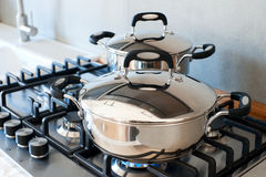 Saucepans stainless steel Royalty Free Stock Photo