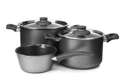 Saucepans on white background. Isolated Stock Photo