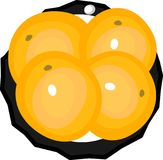 Saucer with four oranges. Black saucer with four orange oranges Royalty Free Stock Image