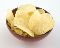 Saucer of fried chips. Saucer of fried chips on white background Stock Photography