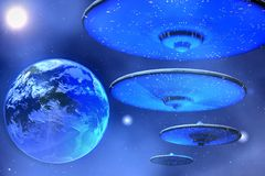 Saucers. Flying saucers come to Earth vector illustration