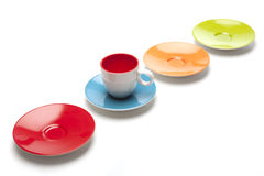 Saucers and cup on white background Stock Photos