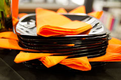Saucers and napkins II Stock Images