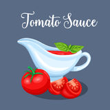 Saucers with tomato sauce and vegetables. Vector illustration for restaurant menu market royalty free illustration
