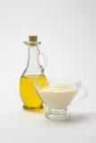 Sauces à huile d'olive et sauce au fromage crème Images libres de droits
