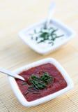 Sauces à tomate et à ail Photos stock