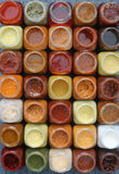Sauces. 35 small bottles with different kinds of sauces Stock Photos
