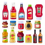 Sauces and dressings bottles set. Ketchup, mayonnaise and mustard. Good fro supermarket design Royalty Free Stock Photo