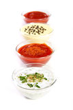 Sauces. Four types of sauces on white Stock Image