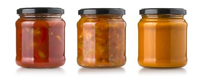 Sauces in glass bottle Stock Photography