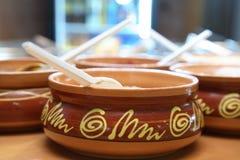 Sauces in pots Stock Photos