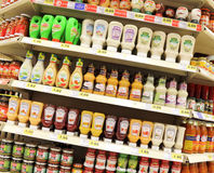 Sauces. Several brands and types of sauces displayed on a supermarket Stock Photos