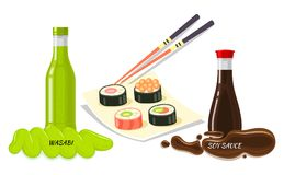 Sauces for Sushi Flat Style Vector Concept Stock Photography