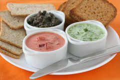 Sauces With Toasts Royalty Free Stock Images