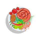 Saucisse, bifteck de boeuf et crevettes roulés, illustration de plat de nourriture de gril d'Oktoberfest Photo stock
