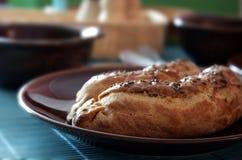 Saucisse cuite au four en pâtisserie de pâte brisée Images libres de droits