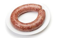 Saucisse de proc faite maison en spirale Photos stock