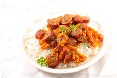 Saucisse de Rougail, plat créole photo stock