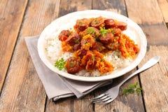 Saucisse de Rougail, plat créole photos stock