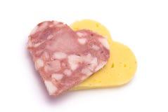 Saucisse en forme de coeur et fromage Image libre de droits