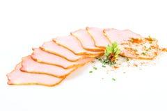 Saucisse et épices coupées en tranches Images libres de droits