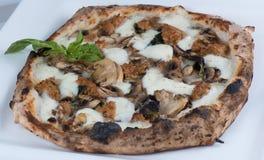 Saucisse et pizza de champignons mises le feu par bois Photos libres de droits