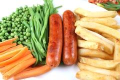 Saucisse et pommes chips Photo libre de droits