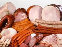 Saucisse et viande de découpage Image libre de droits