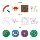 Saucisse frite, casque de bière, cocktails, haut-parleur Icônes réglées de collection de bar dans la bande dessinée, contour, sym Images stock