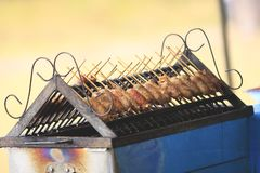 Saucisse grillée au-dessus d'un gril chaud de barbecue. Photos stock