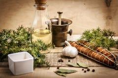 Saucisse, huile d'olive, ail et épices Photographie stock libre de droits