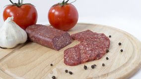Saucisse plate de plateau Photos stock