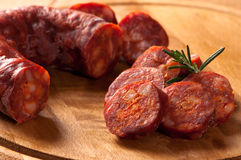 Saucisse rustique de chorizo images stock