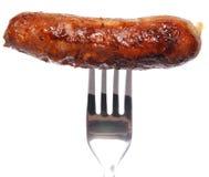 Saucisse sur la fourchette images stock