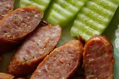 Saucisse thaïe d'ail Photos stock