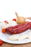 Saucisses avec du fromage bleu et le légume danois Images stock