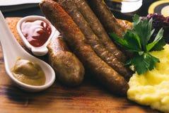 Saucisses cuites frais Photo libre de droits