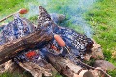 Saucisses de torréfaction sur le feu de camp Photos stock
