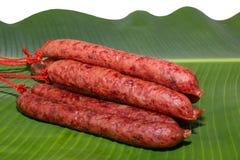 Saucisses de viande crue Photo libre de droits