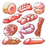 Saucisses et ensemble tiré par la main de produit carné illustration stock