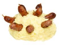 Saucisses et purée de pommes de terre Photo stock