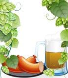 Saucisses et tasse de bière avec des houblon illustration de vecteur